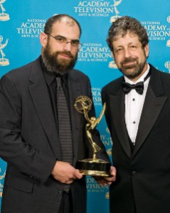 John Rubin and Rich Remsberg (Researcher) with Emmy for Living Weapon